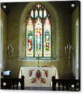 Altar And Stained Glass Window Nether Wallop Acrylic Print