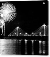 Alton Fireworks Black And White Acrylic Print