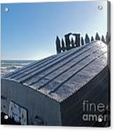 Aluminum Fishing Boat And Boots Drying On Fence Acrylic Print