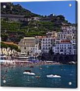 Amalfi Beach And Town Acrylic Print