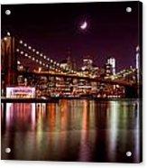 Amazing New York Skyline And Brooklyn Bridge With Moon Rising Acrylic Print