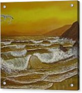 Amber Sunset Beach Seascape Acrylic Print