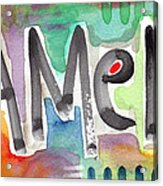 Amen- Colorful Word Art Painting Acrylic Print by Linda Woods