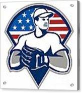 American Baseball Pitcher Gloves Retro Acrylic Print