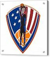 American Basketball Player Dunk Ball Shield Retro Acrylic Print by Aloysius Patrimonio