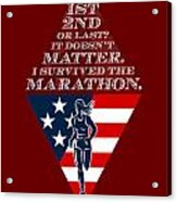 American Female Marathon Runner Retro Poster Acrylic Print by Aloysius Patrimonio