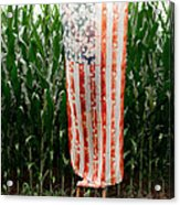 American Flag And A Field Of Corn Acrylic Print by Kim Fearheiley