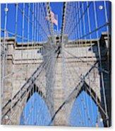 American Flag Flying Over Brooklyn Acrylic Print