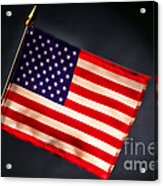 American Flag In Smoke Acrylic Print by Olivier Le Queinec