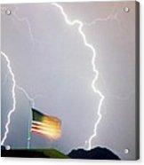 American Flag Lightning Strikes Acrylic Print