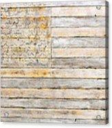 American Flag On Distressed Wood Beams White Yellow Gray And Brown Flag Acrylic Print