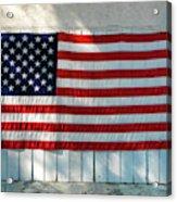 American Flag On Garage After Thomas Acrylic Print