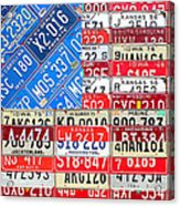 American Flag Recycled License Plate Art Acrylic Print