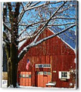 American Flag Red Barn Acrylic Print