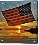 American Flag Sunset 14 2/18 Acrylic Print