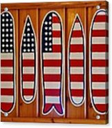 American Flag Surfboards Original Painting By Mark Lemmon Acrylic Print