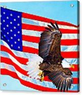 American Flag With Bald Eagle Acrylic Print