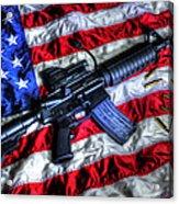 American Flag With Rifle Acrylic Print by Geoffrey Coelho