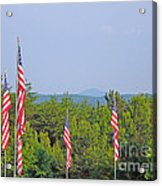 American Flags With Kennesaw Mountain In Background Acrylic Print