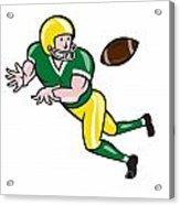 American Football Wide Receiver Catch Ball Cartoon Acrylic Print by Aloysius Patrimonio