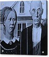American Gothic In Cyan Acrylic Print
