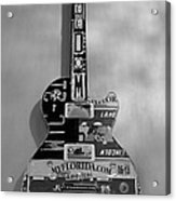 American Guitar In Black And White1 Acrylic Print