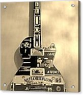 American Guitar In Sepia Acrylic Print