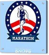 American Marathon Runner Power Poster Acrylic Print by Aloysius Patrimonio