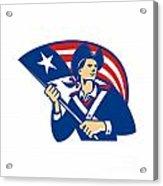 American Patriot Minuteman With Flag Retro Acrylic Print