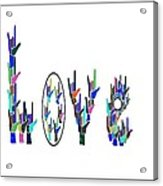 American Sign Language I Love You On White Acrylic Print