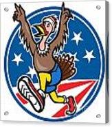 American Turkey Run Runner Cartoon Acrylic Print