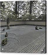 American Zen Rock And Raked Gravel Garden - Portland Oregon Acrylic Print