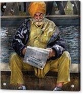 Americana - People - Casually Reading A Newspaper Acrylic Print