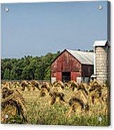 Amish Country Wheat Stacks And Barn Acrylic Print