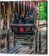 Amish Family On Covered Bridge Acrylic Print by Gene Sherrill