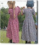 Amish Girls Having Fun Acrylic Print