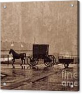 Amish Horse And Buggy With Wagon Bw Acrylic Print