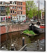 Amstel River Waterfront In Amsterdam Acrylic Print
