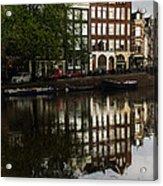 Amsterdam Canal Houses In The Rain Acrylic Print