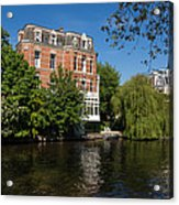Amsterdam Canal Mansions - Floating By Acrylic Print