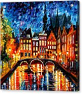 Amsterdam-canal - Palette Knife Oil Painting On Canvas By Leonid Afremov Acrylic Print
