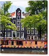 Amsterdam Canal With Houseboat Acrylic Print