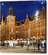 Amsterdam Central Station And Tram Stop At Night Acrylic Print
