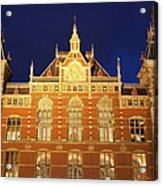 Amsterdam Central Train Station At Night Acrylic Print