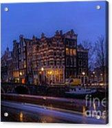 Amsterdam Corner Cafe With Light Trails Acrylic Print