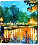 Amsterdam-early Morning - Palette Knife Oil Painting On Canvas By Leonid Afremov Acrylic Print