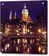 Amsterdam In The Netherlands By Night Acrylic Print