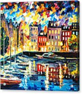 Amsterdam's Harbor - Palette Knife Oil Painting On Canvas By Leonid Afremov Acrylic Print
