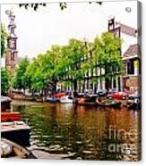 Amsterdams Westerkerk From The Canal  Acrylic Print