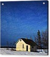 An Abandoned Homestead On A Snow Acrylic Print by Steve Nagy